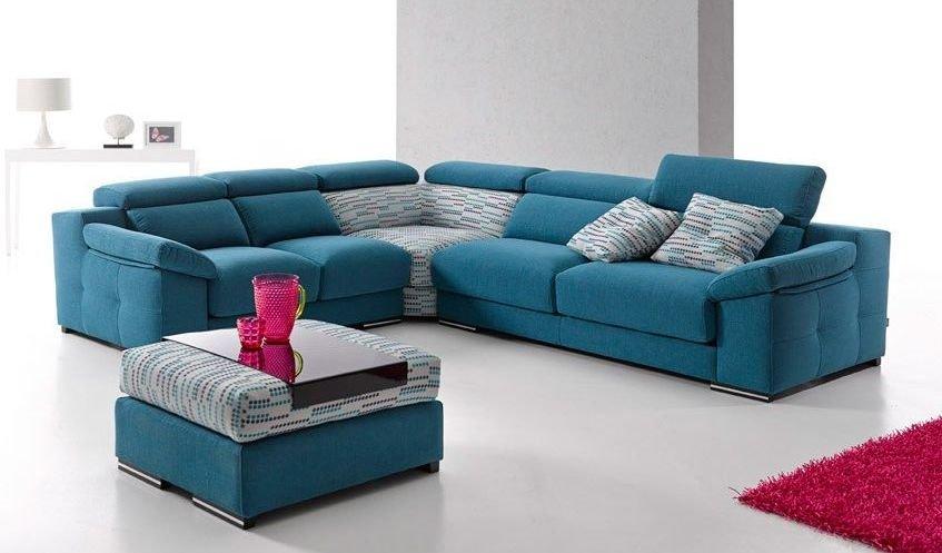 Sofá rinconera pequeño en color azul